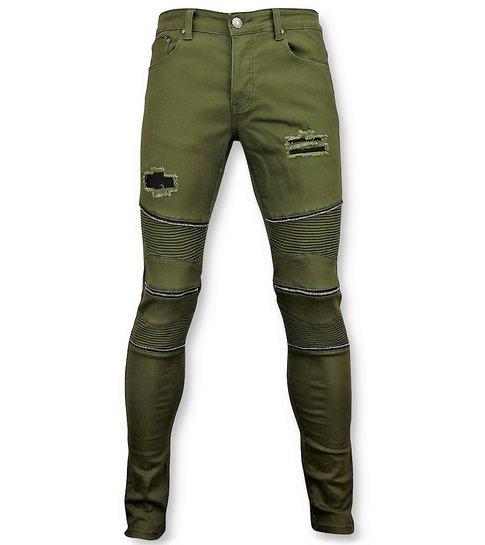 New Stone Groene biker skinny jeans heren - Mannen broek- 3017-9