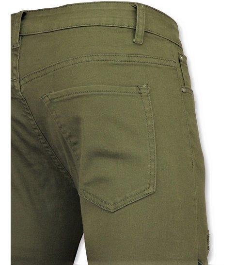 TRUE RISE Groene biker skinny jeans heren - Mannen broek- 3017-9