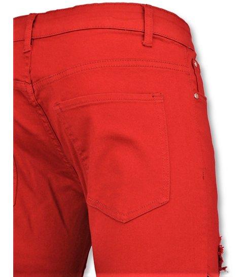 TRUE RISE Rode biker skinny jeans heren - Mannen broek- 3017-10
