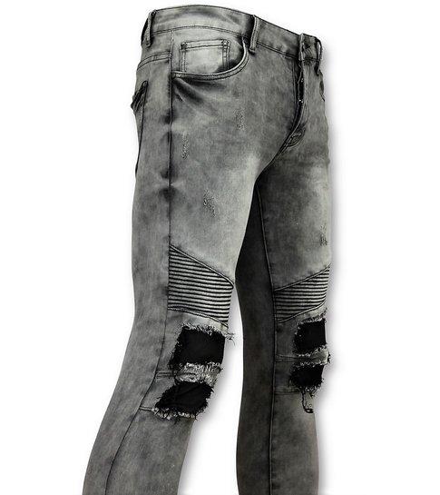 TRUE RISE Grijze heren spijkerbroek biker jeans - 3012-2
