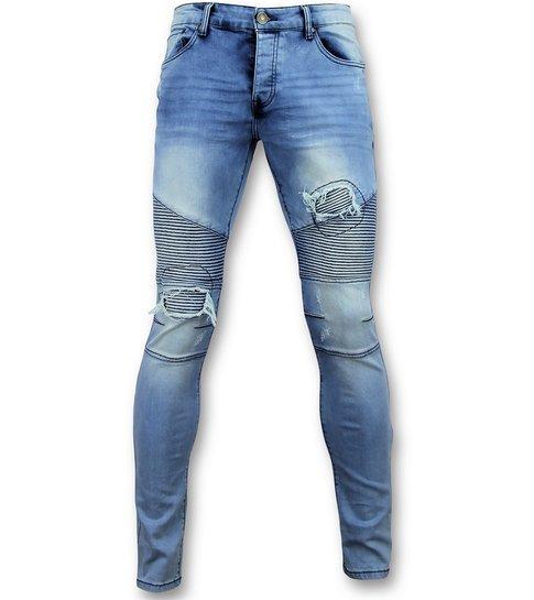 TRUE RISE Blauwe skinny jeans met scheuren heren - Mannen Broek  3008