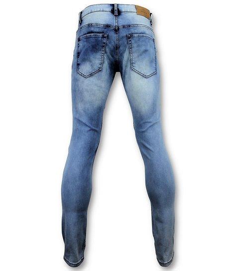 New Stone Blauwe skinny jeans met scheuren heren - Mannen Broek  3008