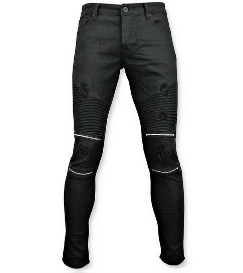 Zwarte skinny biker jeans met scheuren heren 3011