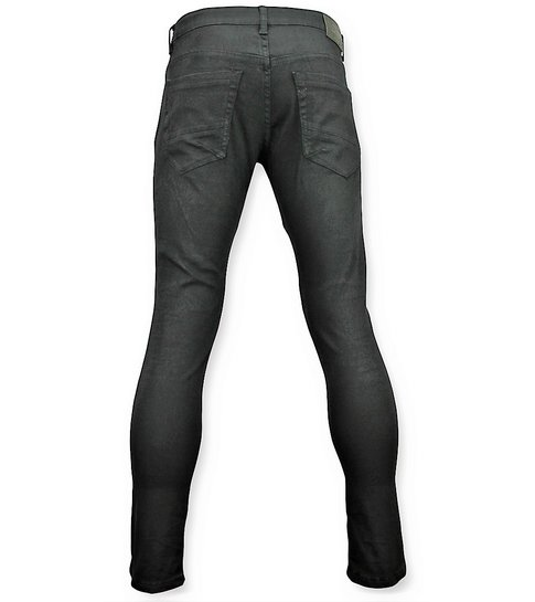 New Stone Zwarte skinny biker jeans met scheuren heren - 3011