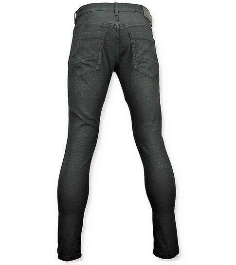 TRUE RISE Zwarte skinny biker jeans met scheuren heren - 3011