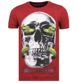 Local Fanatic Skull Snake - Fun T shirt Mannen - 6326B - Bordeaux