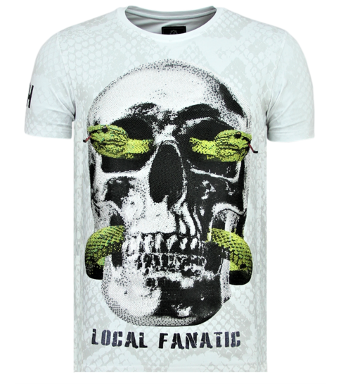 Local Fanatic Skull Snake - Strakke T shirt Mannen - 6326W - Wit