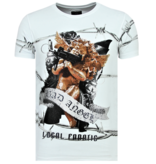 Local Fanatic Bad Angel - Coole T shirt Heren - 6318W - Wit