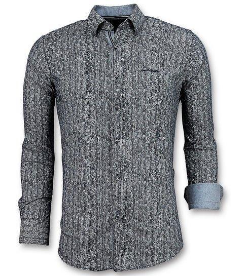 TONY BACKER Luxe Italiaanse Overhemden - Pointed Star Blouse Mannen - 3015 - Blauw