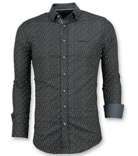 TONY BACKER Slim Fit Stretch Overhemd - Heren Blouse Blad Motief - 3016 - Zwart