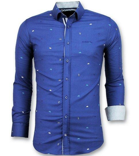 TONY BACKER Getailleerde Overhemden Mannen - Bicycle Blouse Heren - 3017 - Blauw