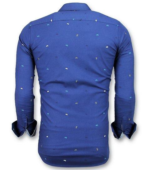 Gentile Bellini Getailleerde Overhemden Mannen - Bicycle Blouse Heren - 3017 - Blauw