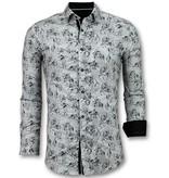 Gentile Bellini Casual Overhemden Heren - Blouse Flower Motief - 3018 - Wit