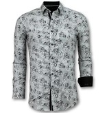 TONY BACKER Casual Overhemden Heren - Blouse Flower Motief - 3018 - Wit