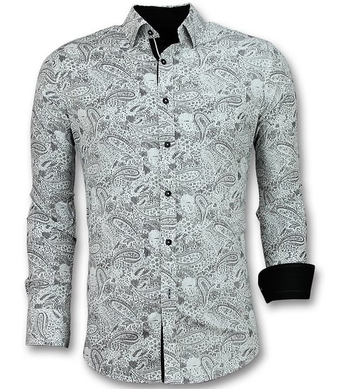 Gentile Bellini Heren Overhemden Italiaans - Blouse Paisley Print - 3019 - Wit