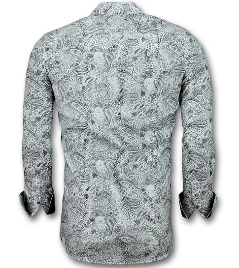 TONY BACKER Heren Overhemden Italiaans - Blouse Paisley Print - 3019 - Wit