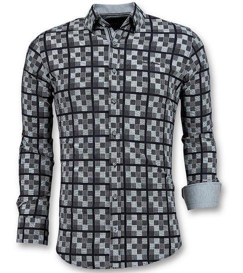 TONY BACKER Italiaanse Overhemden Heren - Schess Motief Blouse - 3020 - Blauw