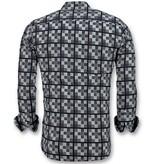 Gentile Bellini Italiaanse Overhemden Heren - Schess Motief Blouse - 3020 - Blauw