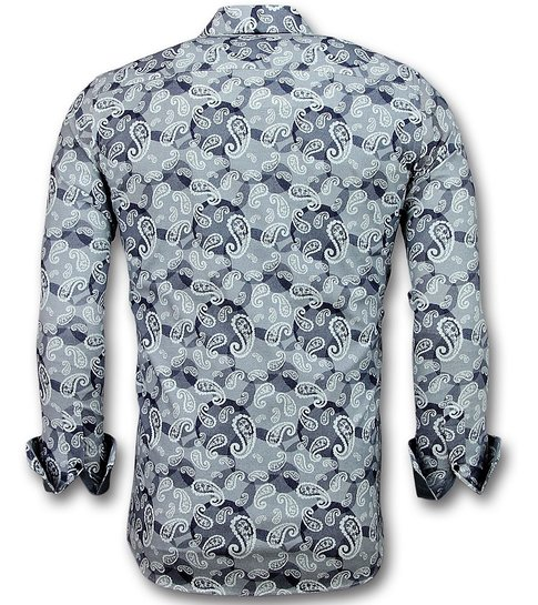 Gentile Bellini Exclusieve Heren Overhemd - Luxe Italiaanse Paisley Blouse - 3021 - Blauw