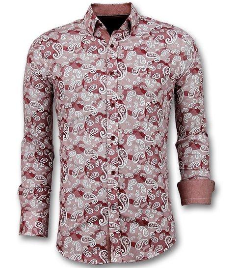 Gentile Bellini Exclusieve Heren Overhemd - Italiaanse Paisley Blouse - 3022 - Rood