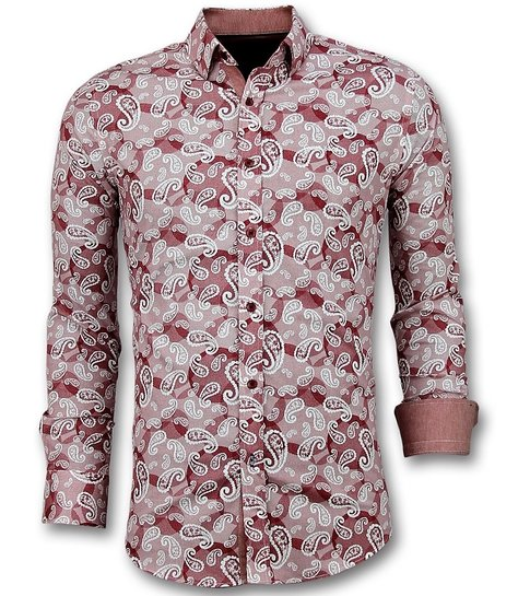 TONY BACKER Exclusieve Heren Overhemd - Italiaanse Paisley Blouse - 3022 - Rood