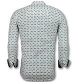 Gentile Bellini Heren Overhemden Slim Fit - Tetris Motief Heren Hemd - 3023 - Beige