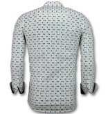 TONY BACKER Heren Overhemden Slim Fit - Tetris Motief Heren Hemd - 3023 - Beige