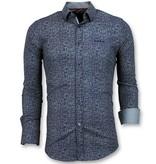 TONY BACKER Slim Fit Overhemd Mannen - Grundge Texture Heren - 3024 - Navy