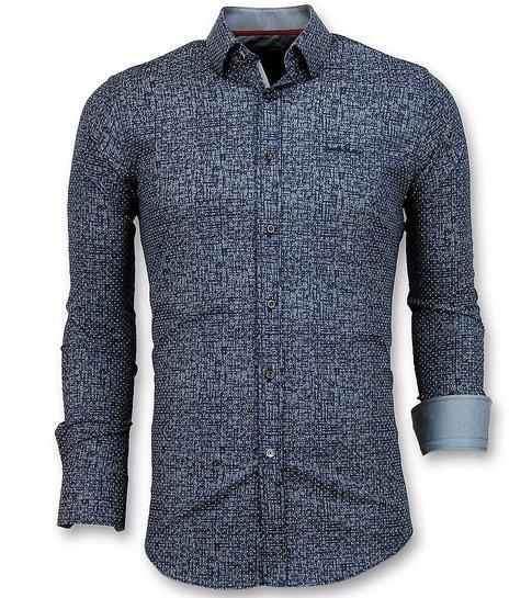 Gentile Bellini Slim Fit Overhemd Mannen - Grundge Texture Heren - 3024 - Navy