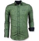 Gentile Bellini Heren Overhemd Plantenprint - Slim Fit Blouse Mannen - 3025 - Groen