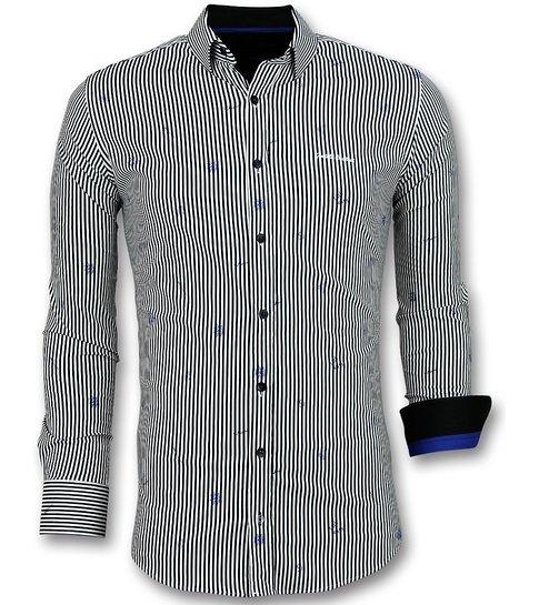 TONY BACKER Italiaanse Blouse Mannen - Overhemd met Streepjes - 3026 - Wit