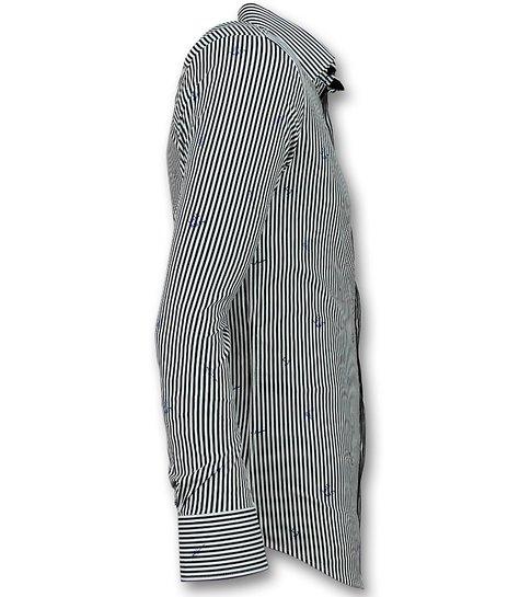 Gentile Bellini Italiaanse Blouse Mannen - Overhemd met Streepjes - 3026 - Wit