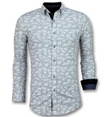 TONY BACKER Italiaanse Blouse Heren - Overhemd met Bloemmotief - 3027 - Wit
