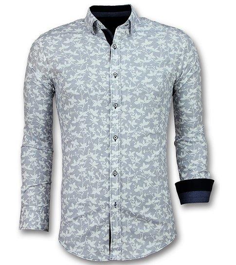 Gentile Bellini Italiaanse Blouse Heren - Overhemd met Bloemmotief - 3027 - Wit