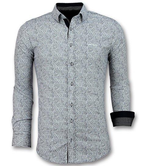 Gentile Bellini Italiaanse Overhemden - Slim Fit Blouse Flower Garden - 3028 - Wit