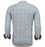 TONY BACKER Italiaanse Overhemden - Slim Fit Blouse Flower Garden - 3028 - Wit