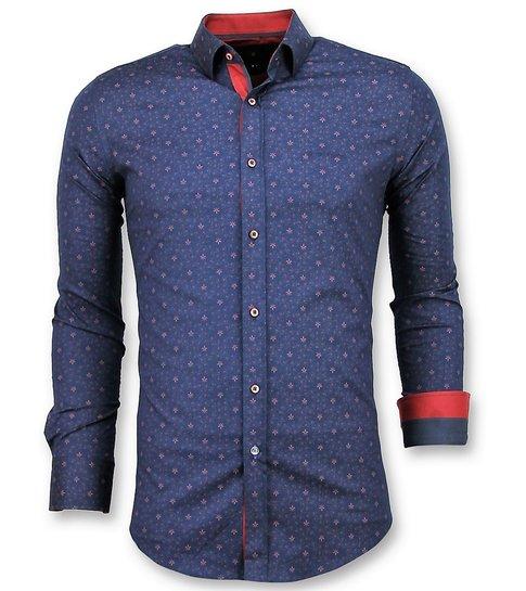 Gentile Bellini Italiaanse Overhemd - Slim Fit Franse Lelie Blouse - 3029 - Blauw
