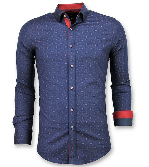 TONY BACKER Italiaanse Overhemd - Slim Fit Franse Lelie Blouse - 3029 - Blauw