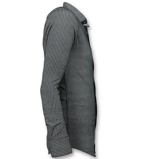 Gentile Bellini Business Overhemden Heren - Streepjes Blouse - 3030 - Blauw