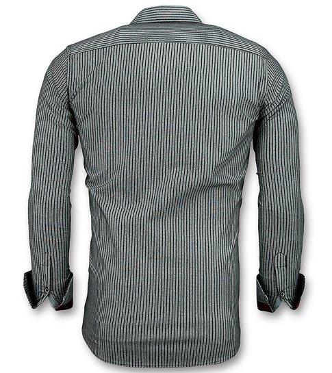 TONY BACKER Business Overhemden Heren - Streepjes Blouse - 3030 - Grijs