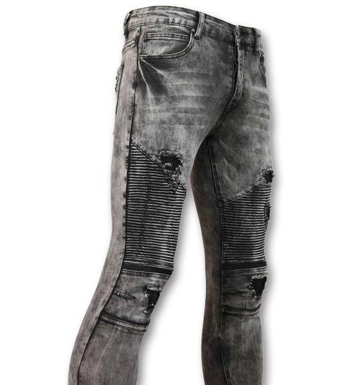 TRUE RISE Trendy biker Jeans heren - Grijze spijkerbroek - 3010