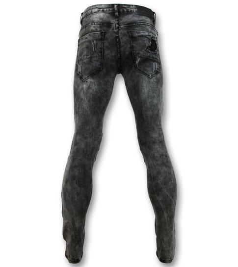 New Stone Trendy biker Jeans heren - Grijze spijkerbroek - 3010