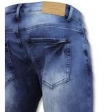 New Stone Biker jeans heren  met rits - Slim Fit - ZS1061- Blauw