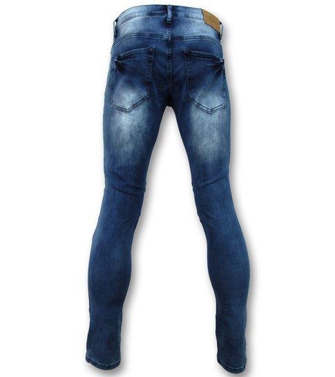 TRUE RISE Biker jeans heren  met rits - Slim Fit - ZS1061- Blauw