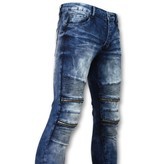 TRUE RISE Biker skinny jeans manen - Stretch - 3001-16 - Blauw
