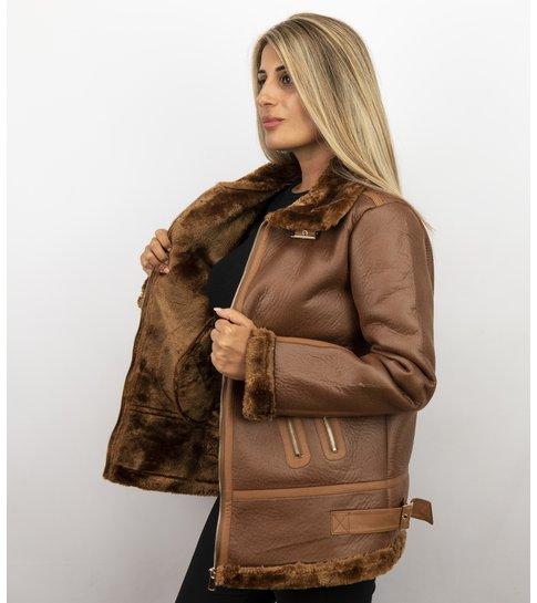 Z DESIGN Imitatie Lammy Coat Dames – Bruin
