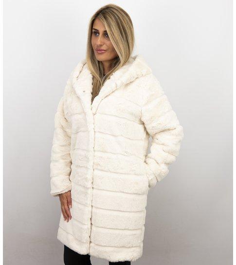 Save Style Imitatie Bontjas Dames – Parka – White