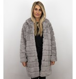 Save Style Dames imitatie Bontjas – Parka – Lila