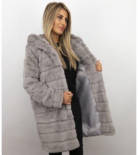 Style Italy Dames imitatie Bontjas – Parka – Lila
