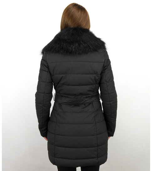 Gentile Bellini Lange Parka Dames Winterjas – Met Zwarte Bontkraag – Zwart